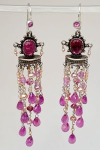 Sterling Silver, pink sapphire, pearls