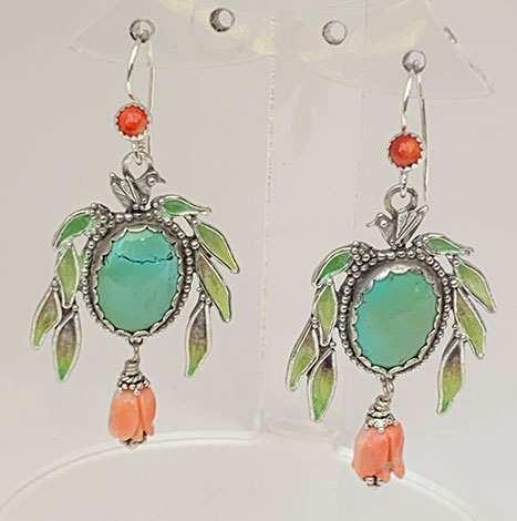 Sterling Silver, Enameled, turquoise, pink & red coral earrings