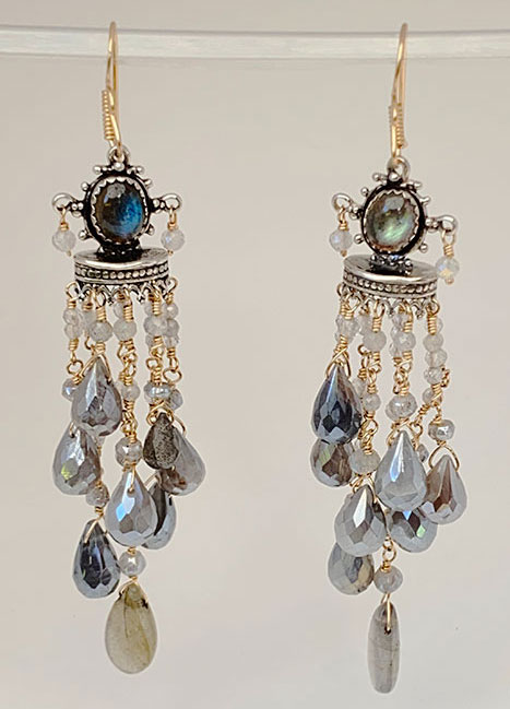 Sterling Silver, Goldfilled, Labradorite, Silverstone Earrings