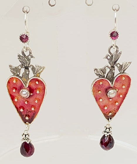 Sterling Silver, Enameled, Garnets, Pearls Earrings