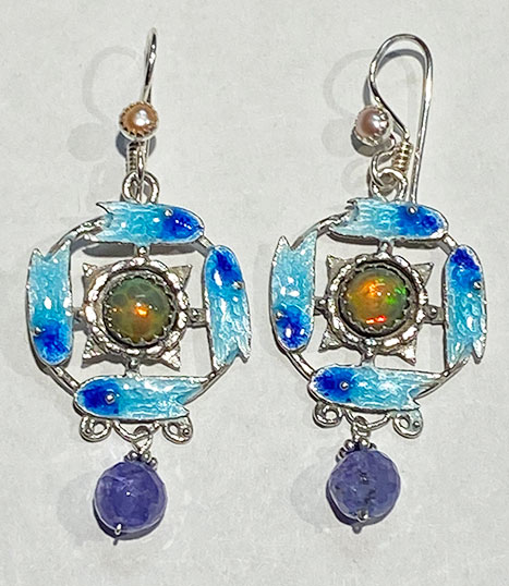 Sterling Silver, Enameled, Ethiopian Opals, Pearls, Tanzanite Earrings
