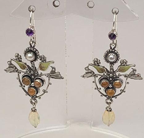 Sterling Silver, Peach Moonstone, Pearl, Ethiopian Opal, Amethyst Earrings