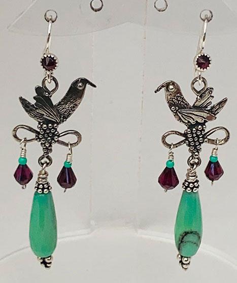 Sterling Silver, Garnet Chinese Green Opal Earrings