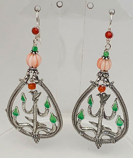 Sterling Silver, Enameled, Pink and Red Coral Earrings