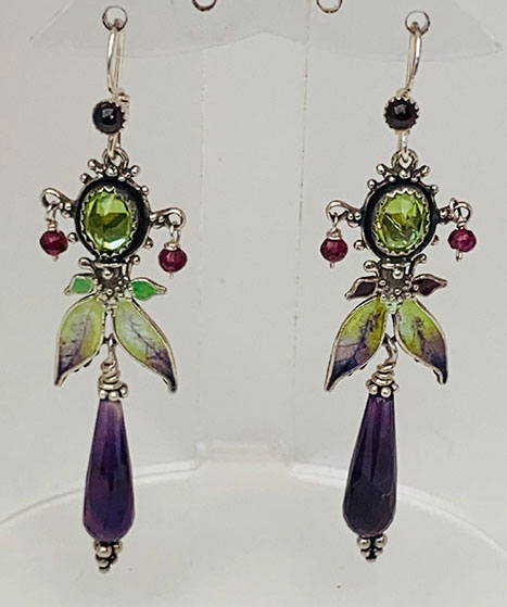 Sterling Silver, Enameled, Peridot, Amethyst, Garnets Earrings
