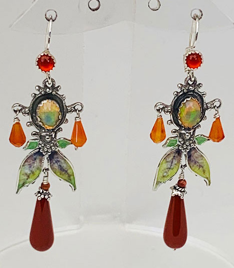 Sterling Silver, Ethiopian Opal, Carnelian, Gold stone, Jasper Earrings