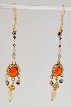14Kt Gold, Mexican Fire Opals, Diamonds, Ethiopian OpalS Earrings