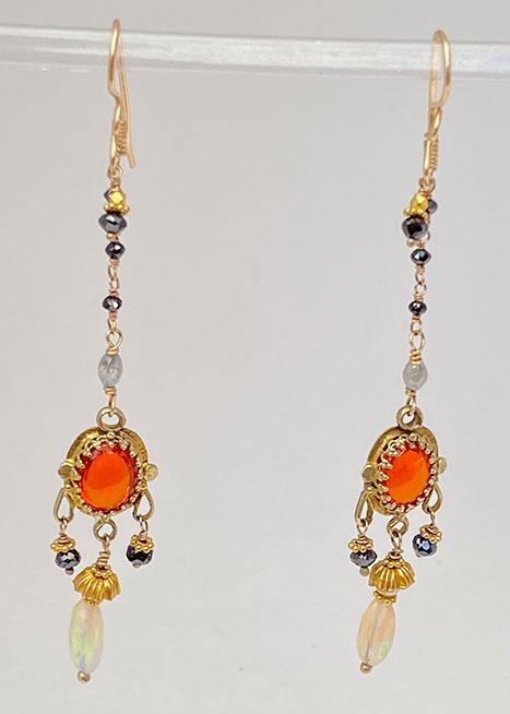 14Kt Gold, Mexican Fire Opals, Diamonds, Ethiopian OpalS Earrings