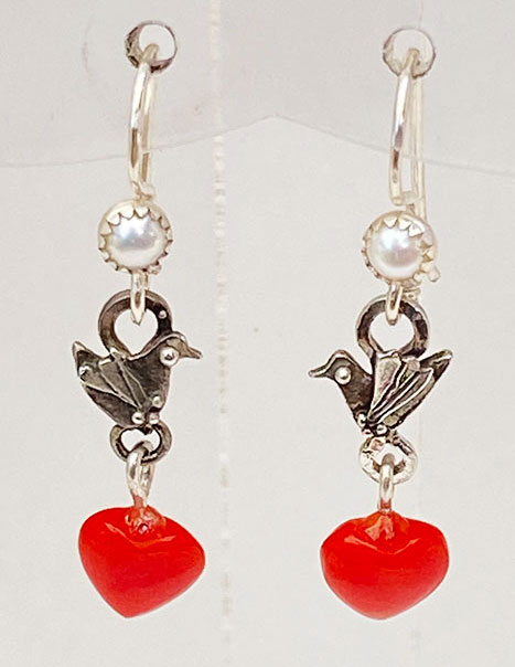 Sterling Silver, Coral Hearts Earrings
