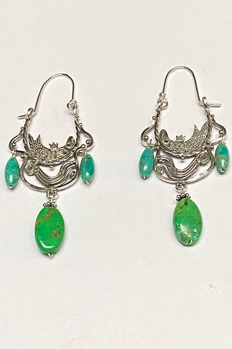 Musi Earrings, sterling silver and turquoise