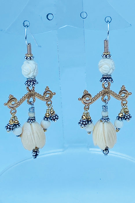 Sterling Silver, Gold Plate, Antique Beads earrings