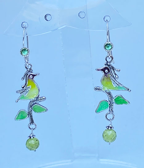 Sterling Silver, Enameled, Peridot Earrings