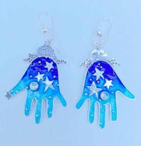 Sterling Silver, Enameled, Opals earrings