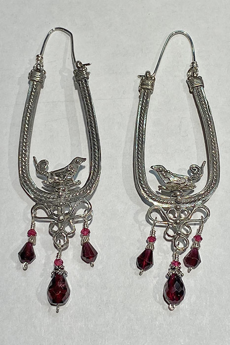 Sterling Silver, Garnets earrings