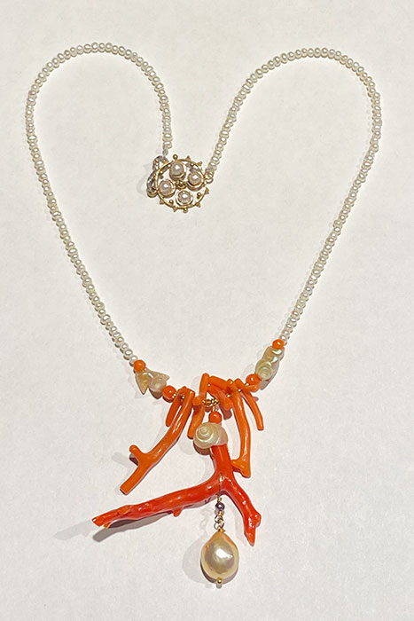Gold Field, Bronze, Coral, Pearls, Shells Necklace