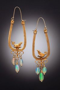 Gold Plate and Ethiopian Opal earrings