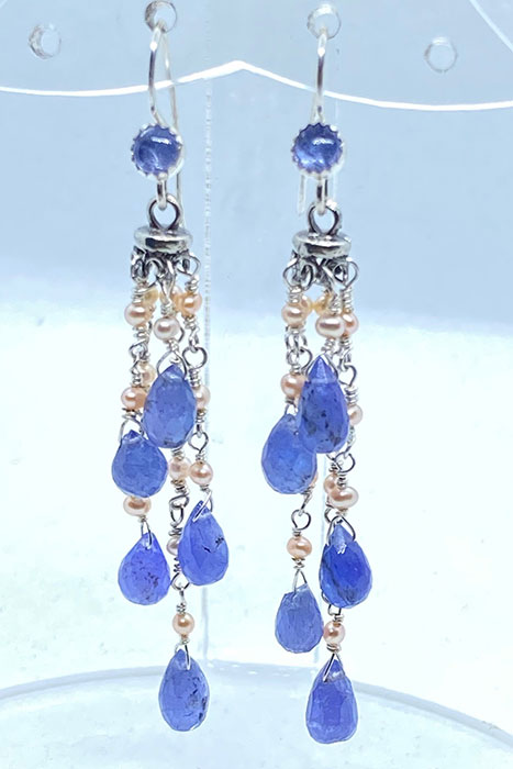 Sterling silver, Tanzanite, Pearls