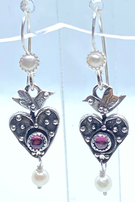 Sterling Silver, Ruby, Pearls