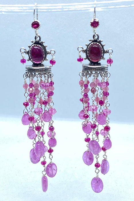 Sterling Silver, Pink Sapphires, Ruby