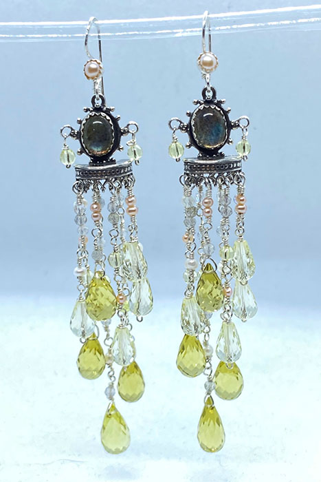 Sterling Silver, Lemon Citrine, Pearls, Labradorite