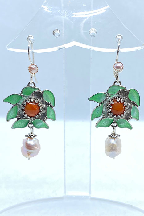 Sterling Silver, Enameled, Victorian Coral, Pearls