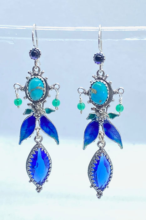 Sterling Silver, Enameled, Turquoise, Iolite, Blue Glass