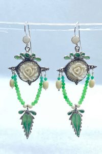 Sterling Silver, Enameled, Antique Recycled Ivory, Chrisophrase, Emeralds