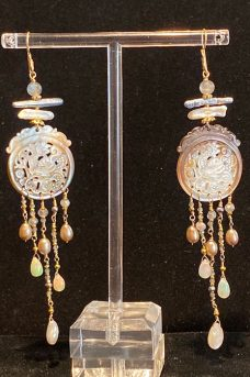 Gold Filled, Mother of Pearl, Pearls, Opals, Labradorite earrings
