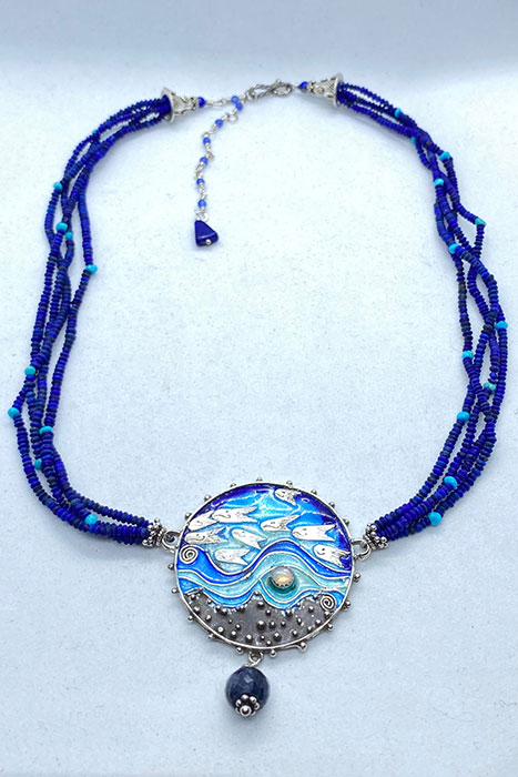 Sterling Silver, Enameled, Ethiopian Opal, Lapiz, Turquoise