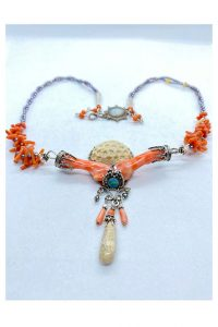 Sterling Silver, Pink Coral Branch, White Coral, Opals, Petrified Coral, Pearls