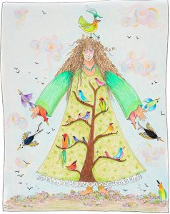 Musi Drawing of girl with birds on her dress