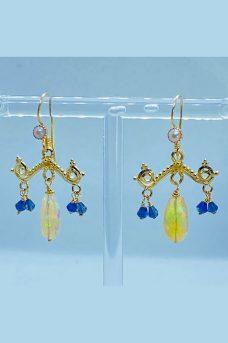 14K Gold, Ethiopian Opals, Iolite, Pearl earrings