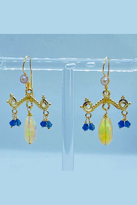 14K Gold, Ethiopian Opals, Iolite, Pearl earrings