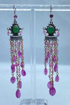 Sterling Silver, Goldfilled, Pink Sapphires, Chrisophrase earrings by Musi