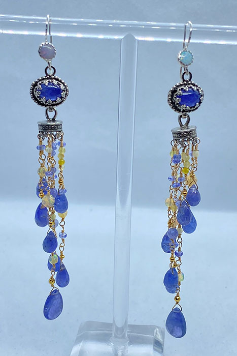 Sterling Silver, Goldfilled, Tanzanite, Opals Musi Earrings