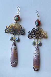 Sterling Silver, Agath, Silverite, Abalony, Opals Musi Earrings