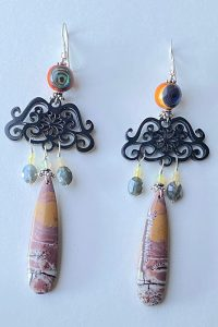 Sterling Silver, Horn, Agath, Silverstein, Abalone, Opals Musi Earrings