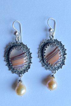 Sterling Silver, Agate, Pearl Musi Earrings