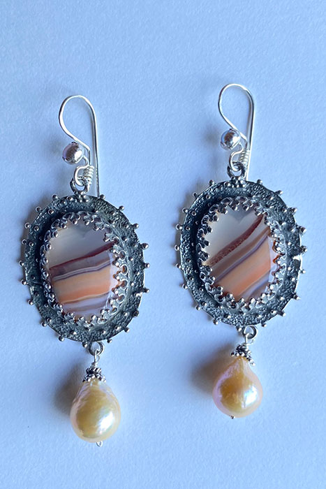 Sterling Silver, Agate, Pearl Musi Earrings