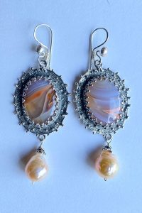 Sterling Silver, Agate, Pearl