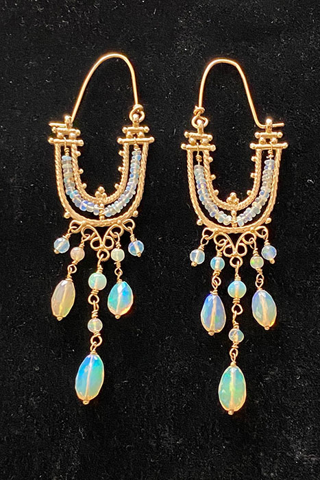 14K Gold, Ethiopian Opals musi earrings