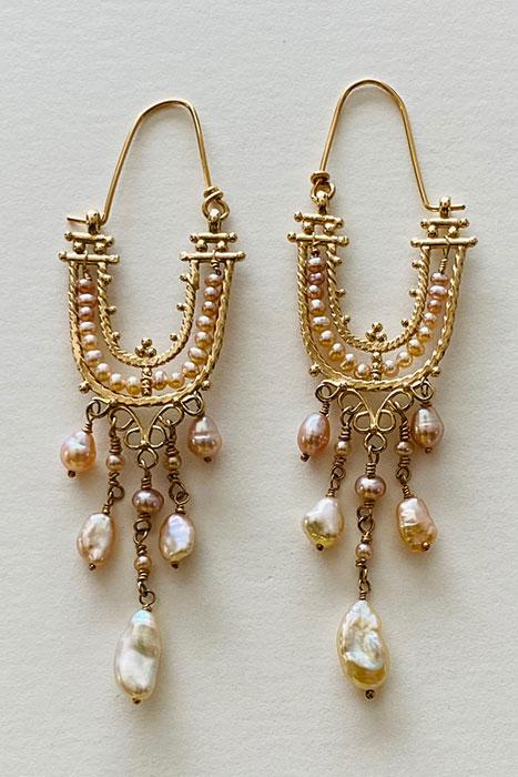 14K Gold, Pearls musi earrings
