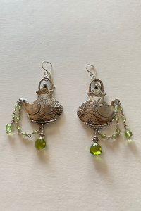 Sterling Silver, Peridot musi earrings