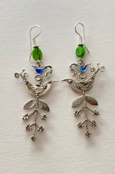 Sterling Silver, Enameled, Turquoise musi earrings