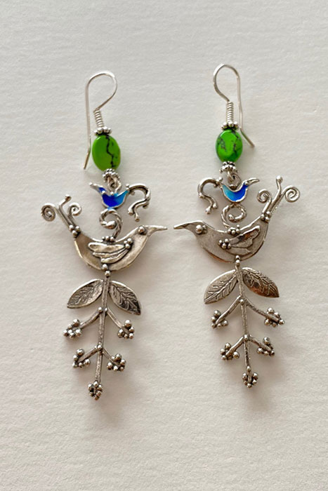 Sterling Silver, Enameled, Turquoise musi earrings