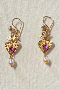 14K Gold, Rubies, Pearls Musi earrings
