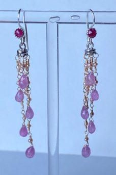 Pink Sapphires, Rubies Musi earrings