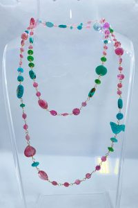 Goldfilled, Tourmalines, Pink Sapphire, Turquoise Musi Necklace