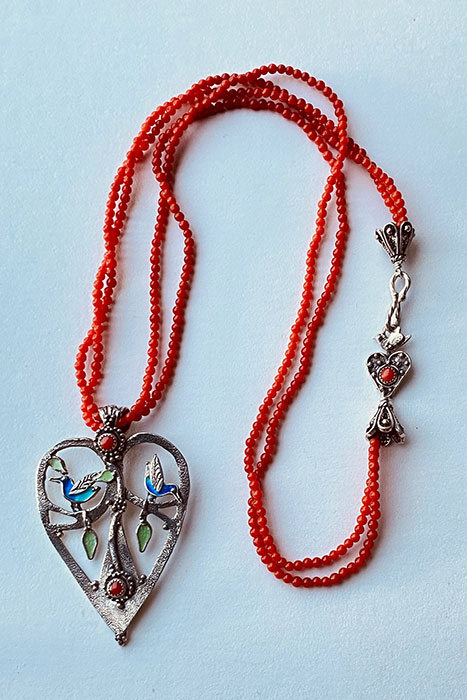 Sterling Silver, Enameled, Coral Musi Necklace