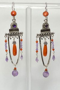 Musi Jewelry earrings: Sterling Silver, Coral, Amethyst